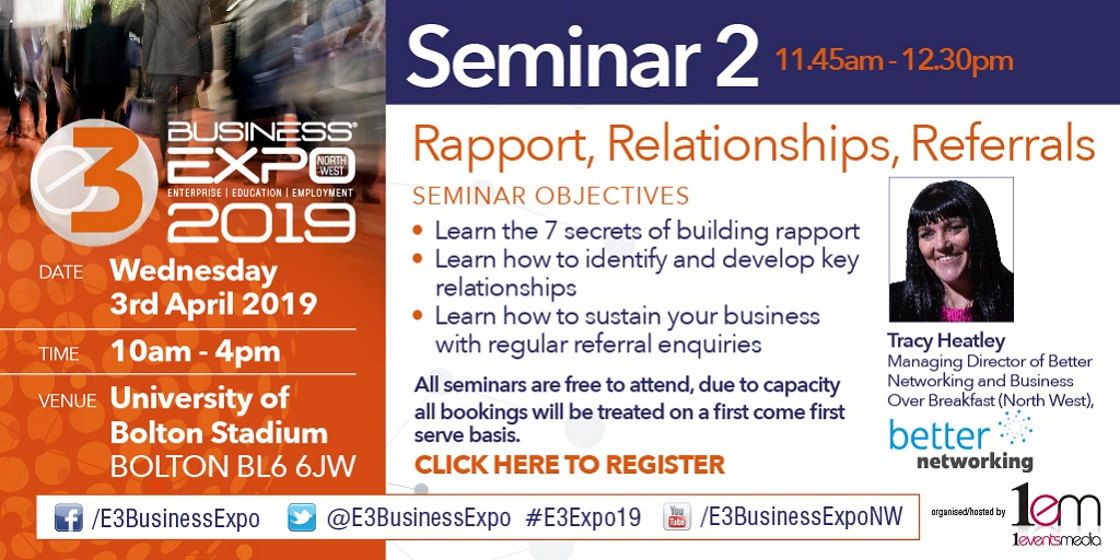 Business Networking Skills Seminar at E3 EXPO, 3rd April 2019