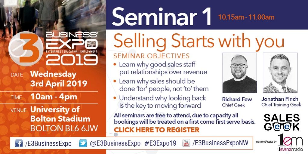 Free Sales Advice and Networking at E3 EXPO, 3rd April 2019